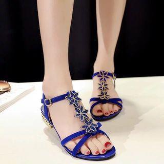 Flower Block Heel Sandals