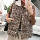 Padded Plaid Buttoned Vest