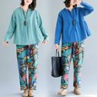 Set: Plain Blouse + Printed Harem Pants