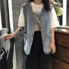 Clasped Denim Jacket Blue - One Size