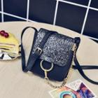 Chain Detail Sequined Crossbody Bag