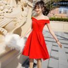 Sleeveless Off Shoulder A-line Dress