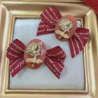 Rose Lettering Ribbon Earring 1 Pair - Red & Gold - One Size