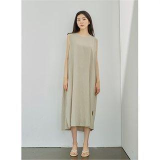 Sleeveless Slit-hem Maxi Dress Beige - One Size