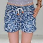 Drawstring-waist Camouflage Shorts