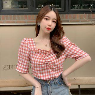 Plaid Puff-sleeve Frill-trim Blouse As Shown In Figure - One Size