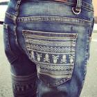 Skull Print Washed Jeans