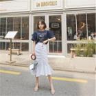 Ruffle-hem Shirred Midi Skirt