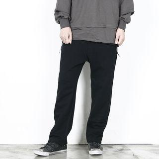 Band-waist Tape-accent Pants