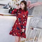 Ruffle Hem Floral Chiffon Dress