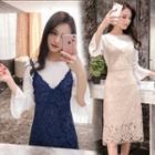 Set: Plain Top + Lace V-neck Dress