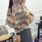 Printed Lantern Sleeve Sweater