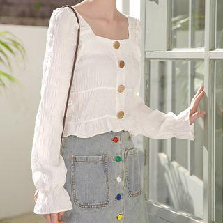 Bell-sleeve Square Neck Blouse White - One Size