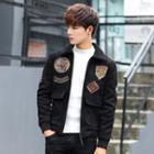 Fleece Collar Applique Zip Jacket