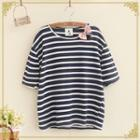 Bow Accent Striped Short Sleeve T-shirt