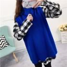 Set: Check Shirtdress + Sleeveless Turtleneck Knit Dress