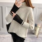 Two-tone Turtleneck Ribbed Sweater
