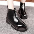 Zip-front Platform Ankle Boots