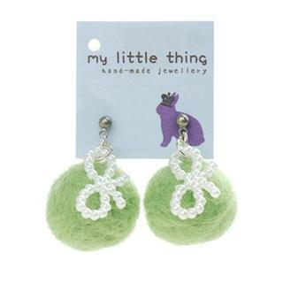 Green Felt Ball Ball Ribbon Earrings
