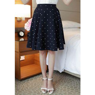 Dotted A-line Midi Skirt