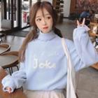 Mock Turtleneck Letter Applique Sweater