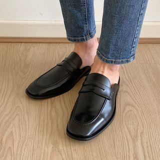Pleather / Plaid Backless Loafers