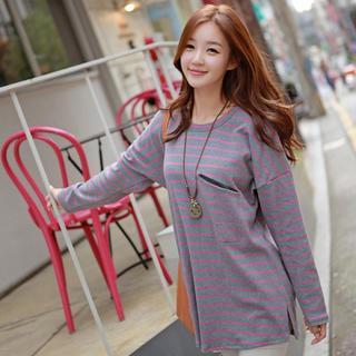 Drop-shoulder Stripe T-shirt