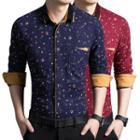 Contrast Trim Floral Print Shirt