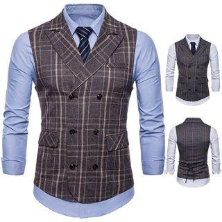 Double-breasted Plaid Buttoned Vest