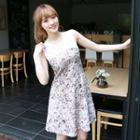 Lace-panel Sleeveless A-line Dress