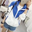 Lettering Applique Color Panel Hooded Jacket