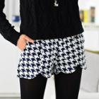 Houndtooth Pattern Shorts Navy Blue And White - One Size