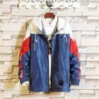 Hooded Contrast Panel Zip Jacket