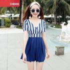 Short-sleeve Striped Panel Swim Dress