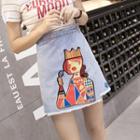 Applique A-line Denim Skirt