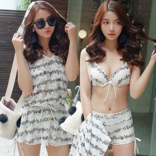 Set: Printed Hooded Playsuit + Bikini