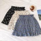 Floral Chiffon High-waist Pleated Skirt