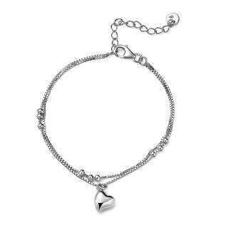 925 Sterling Silver Double Chain Dangle Heart Charm Bracelet, Women Jewelry Gift
