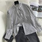 Stand-collar Striped Shirt