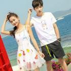 Couple Matching Printed Short-sleeve T-shirt / Sleeveless Mesh Dress
