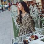 Long-sleeve Floral Print Chiffon Dress