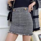 Tweed Plaid Mini Skirt