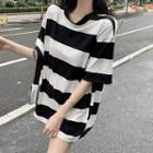 Short-sleeve Striped Loose Fit T-shirt Tshirt - One Size