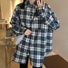 Long-sleeve Plaid Shirt Plaid - Gray & Whtie - One Size