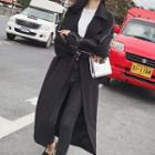 Double-breasted Contrast Trim Midi Trench Coat