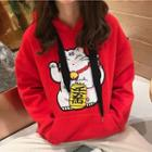 Fortune Cat Embroidered Hoodie