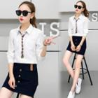 Set: Plain Shirt + A-line Skirt