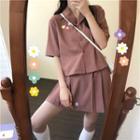 Floral Printed Shirt / Mini Pleated Skirt