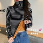 Turtleneck Striped Long-sleeve Fleeced Knit Top
