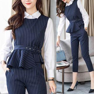 Set: Shirt + Striped Vest + Dress Pants
